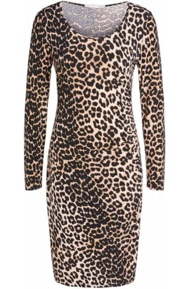 Dark Camel Black Animal Print Dress