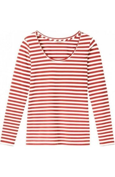 Burnt Red & Off White Striped Top