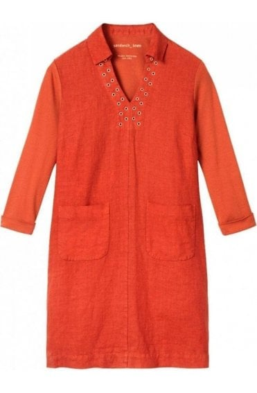 Burnt Red Linen Shift Dress