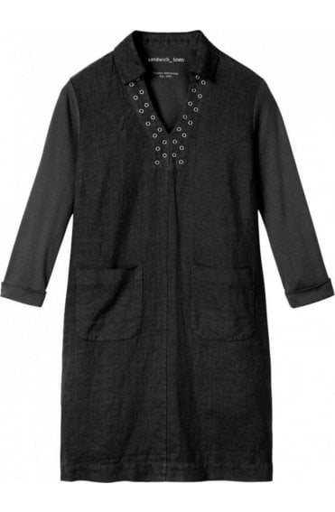 Almost Black Linen Shift Dress