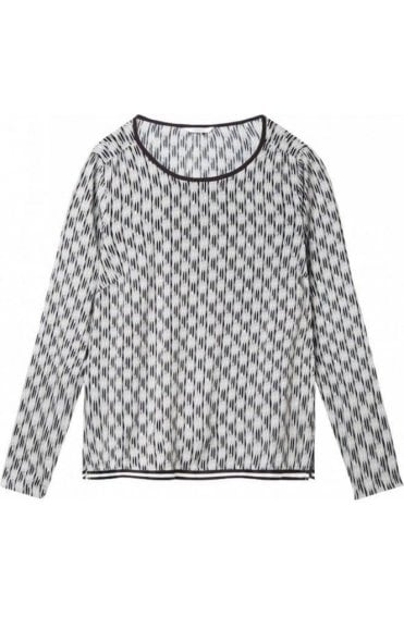 Pale Sky Patterned Blouse