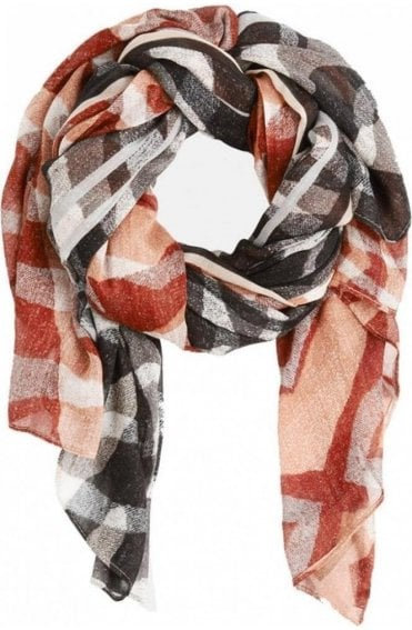 Almost Black & Burnt Orange Print Scarf