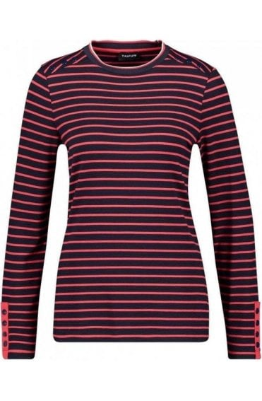 Navy & Red Striped Jersey Top