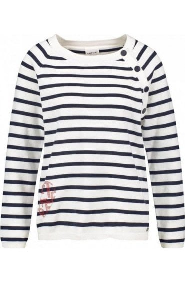Off White Navy Striped Knit Jumper