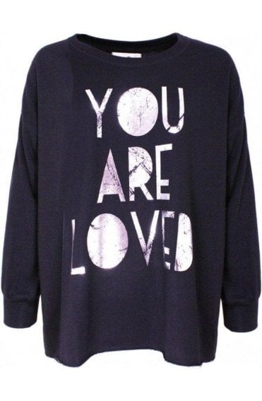 Loved Soft Black jersey Sweatshirt