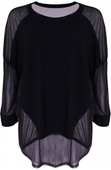 Shirty Soft Black chiffon back Top