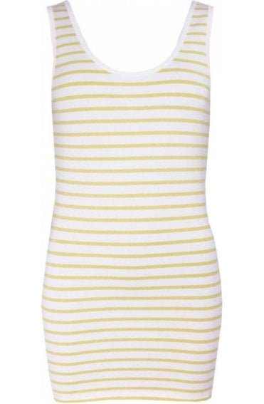 White Yellow Striped Vest Top