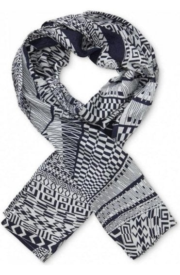 Along Navy Original Patterned Scarf