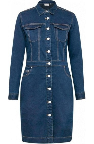 Blue Denim Long Sleeved Dress