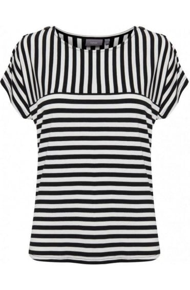 Beige & Black Striped Jersey Top