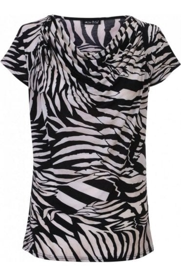 Cowl Neck Bold Print Top
