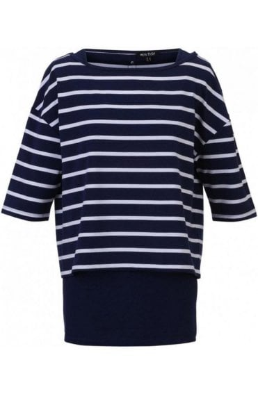 Navy & White Striped Layered Top