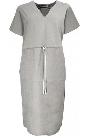Smoked Grey Linen Shift Dress