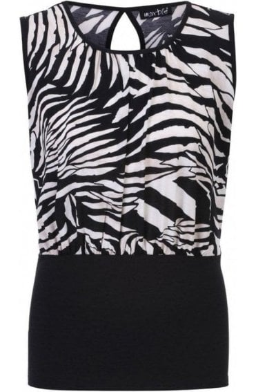 Black and Off White Bold Print Top