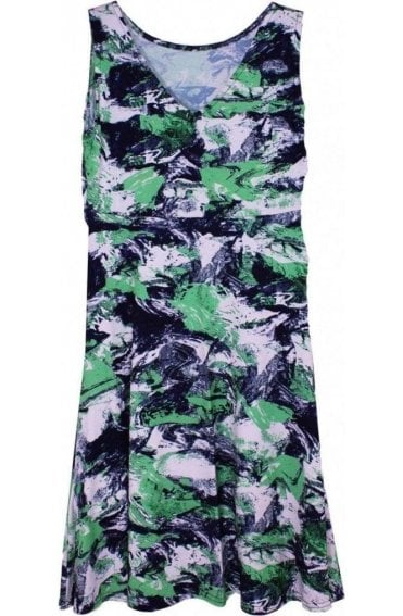 Green & Navy Patterned Dress