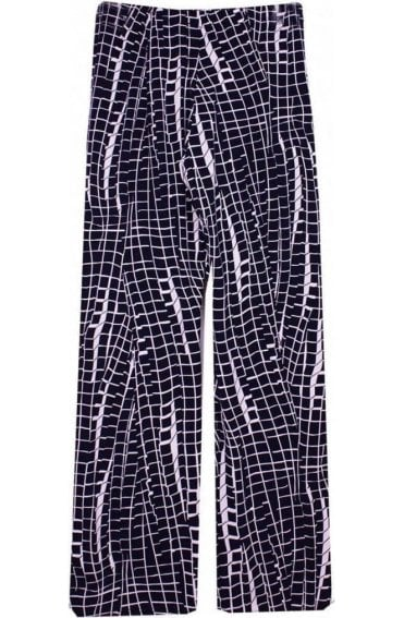 Navy & White Check Print Trousers