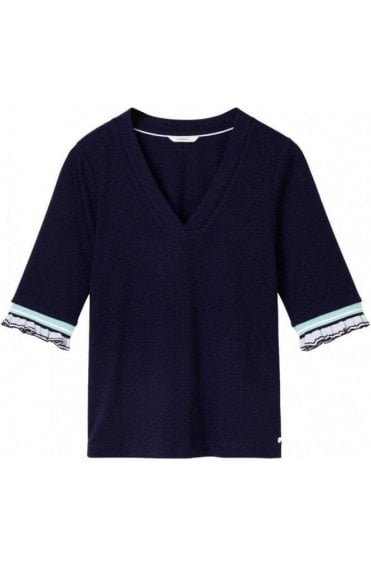Martime Blue Fine Ribbed Top