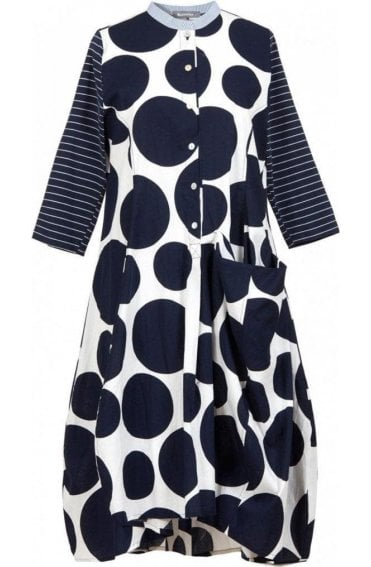 Navy & White Circular Print Dress