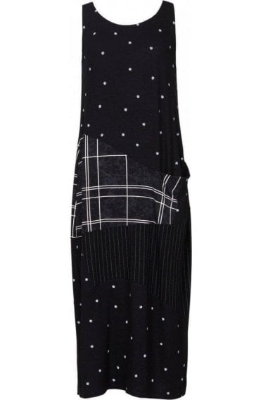 Black Patchwork Maxi Dress