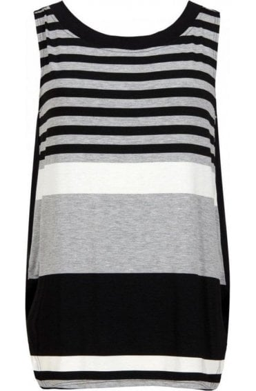 Black & Grey Bold Striped Top