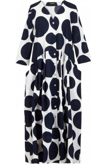 Bold Circular Print Shirt Dress