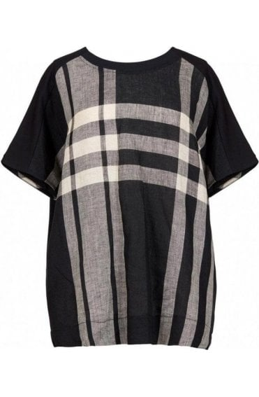 Oversized Check Print Linen Top