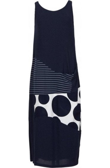 Navy Patchwork Maxi Dress