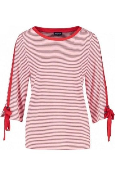 Red & White Striped Jersey Top