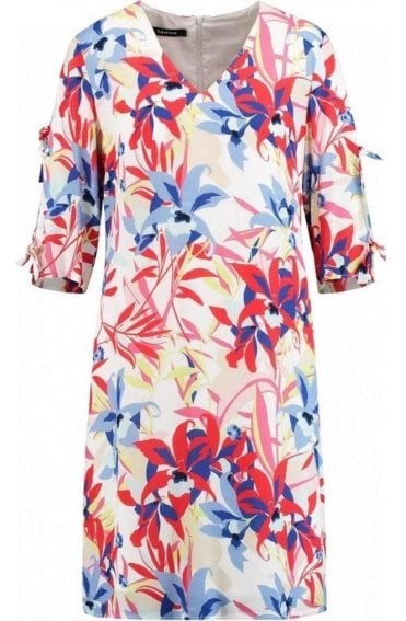Bold Floral Print Shift Dress
