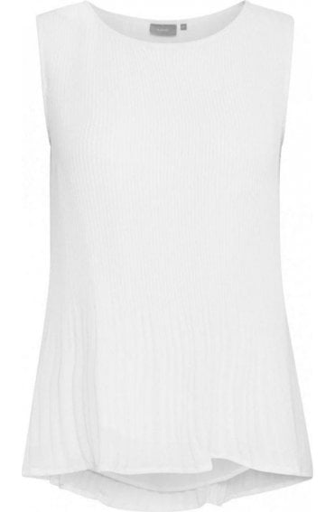 White textured Pleated Top