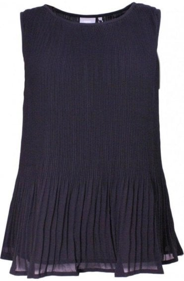 Black Textured Pleated Top