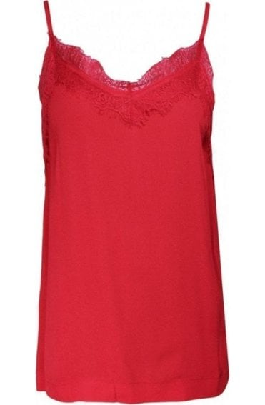 Spiced Red Lace Detailed Vest Top
