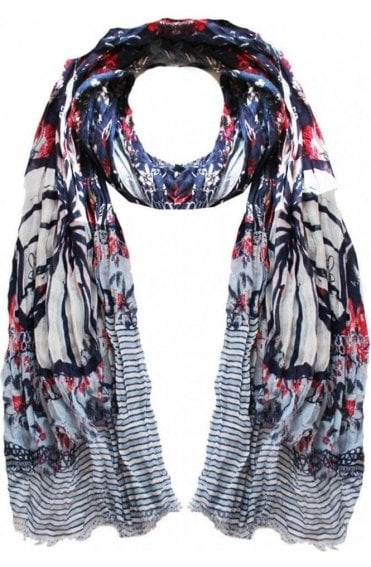 Navy & Red Floral Scarf
