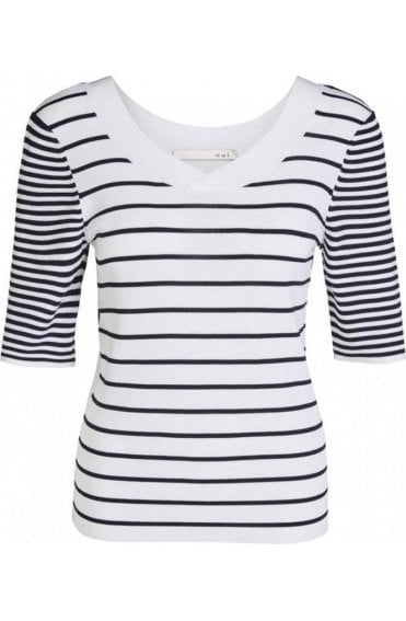Navy & White Striped Knit Top