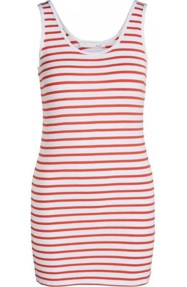 White & Red Striped Vest Top