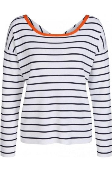 Navy & White Striped Fine Knit Top