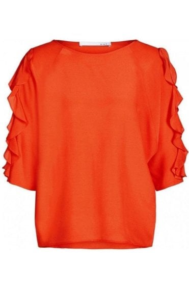 Cherry Tomato Frilled Sleeve Blouse