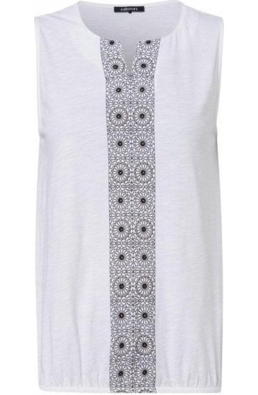 White Patterned Front Design Top