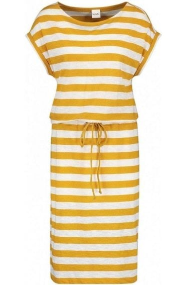Mustard Striped Jersey Dress