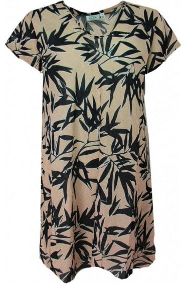 Van Tropical Leaf Print Tunic