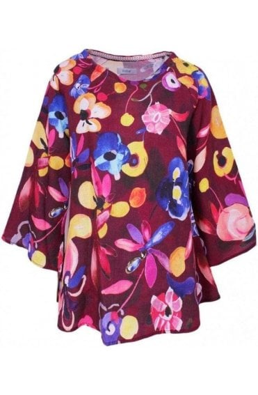 Bold Floral Print Linen Top