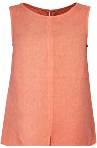 Mandarin Linen Sleeveless Top