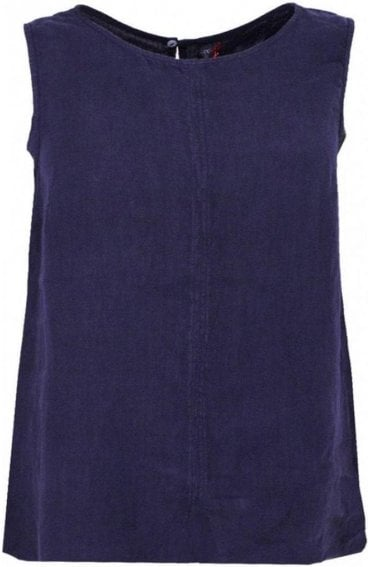 Navy Linen Sleeveless Top