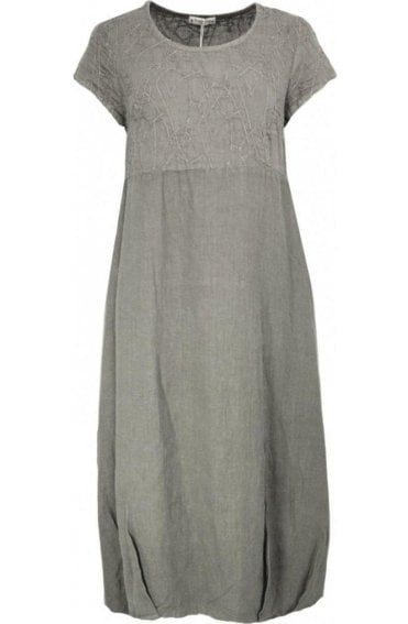 Embroidered Grey Linen Dress