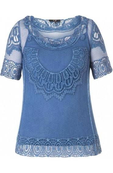 Indigo Crocheted Lace Top
