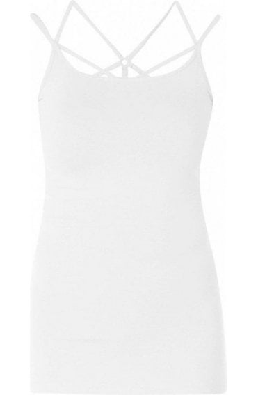 White Cross Strap Vest Top