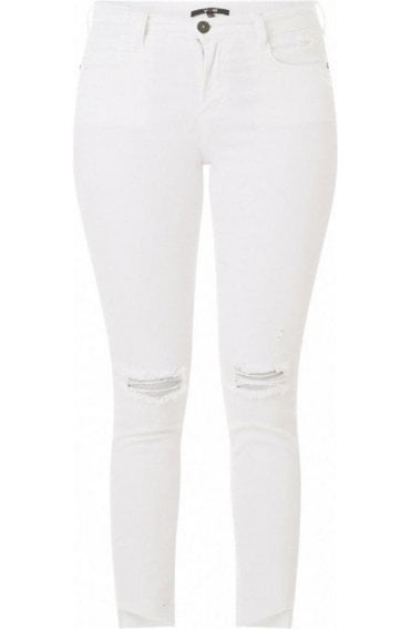 White Slim Leg Ripped Jeans