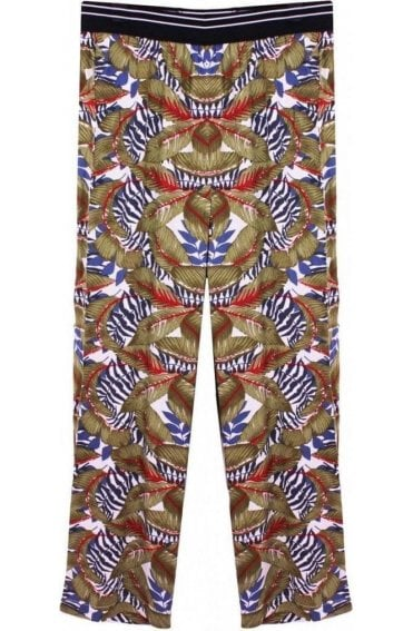 Tropical Leaf Print Trousers