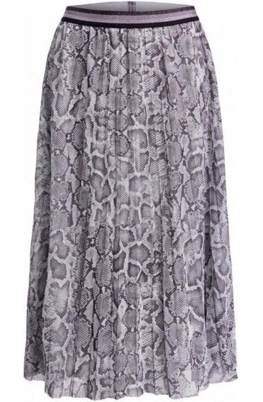 Snake Skin Print Pleated Skirt