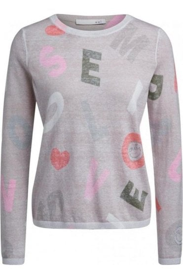 Fine Knit Letter Design Jumper